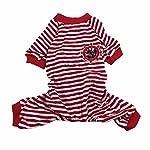 Doggie Style Store Red Striped Dog Pet Cat Pyjamas Sailor Anchor Pajamas Jumpsuit Nightwear Onesie Suit Size S 8