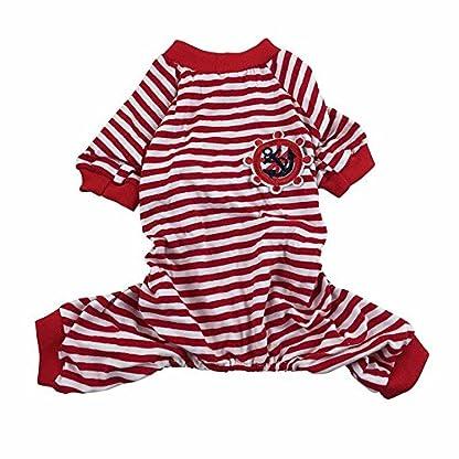 Doggie Style Store Red Striped Dog Pet Cat Pyjamas Sailor Anchor Pajamas Jumpsuit Nightwear Onesie Suit Size S 2