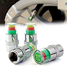 STARVIN Premium Car Tyre Pressure Monitor || Valve Gauge || Sensor Indicator || 3 Color Eye Air Alert || For All Cars || Set of 4 || C-05
