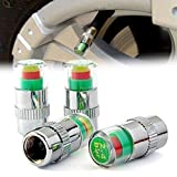 #6: STARVIN Premium Car Tyre Pressure Monitor || Valve Gauge || Sensor Indicator || 3 Color Eye Air Alert || For All Cars || Set of 4 || C-03