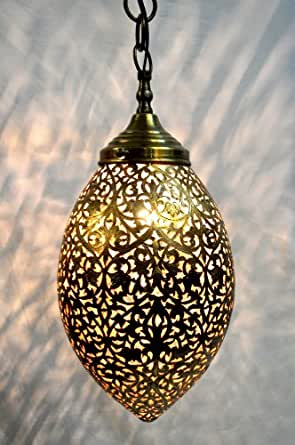 Hand Pierced Fret Sawing Egg Shape Large Moroccan Solid Antique Ceiling Lante
