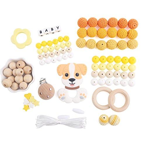 baby tete Perles de Dentition de Bébé en Silicone Clips de Sucette en Bois Jouets de Dentition pour Bébés Accessoires de Bricolage Chiot Chien