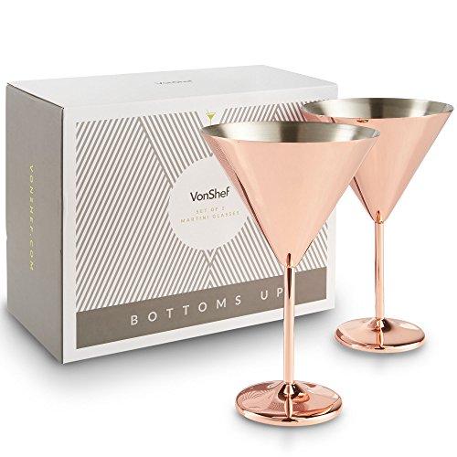 VonShef Conjunto de 2 vasos de cóctel de Martini de acero inoxidable - Cobre