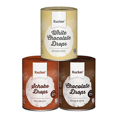 Xucker Schoko-Drops Probierset, Weiße, Vollmilch und Zartbitter Chocolate Drops (3 x 200 g)