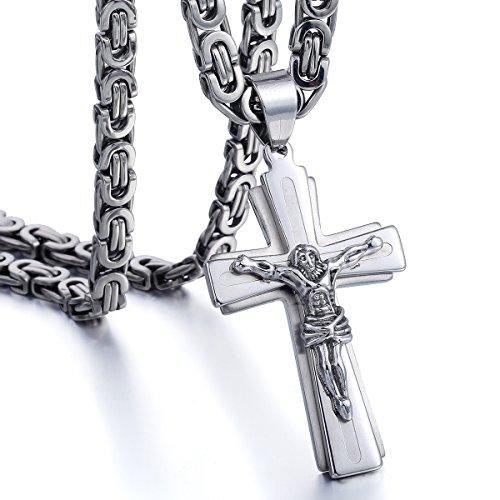 Trendsmax Uomo 2 strati Gesu Croce Crocifisso Ciondolo tono argento in acciaio inossidabile Christian collana del pendente
