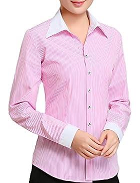 BOZEVON Camicia Blusa a Lunga Casual Elegante Ufficio per Donna
