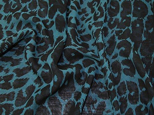 Minerva Crafts Leopard Print Silk Chiffon Kleid Stoff Blaugrün   Schwarz –  Meterware da4bddeced