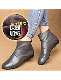 Shukun Botines PU Spring and Autumn Winter Martin Boots Short Tube Flat Short Boots Flat Boots
