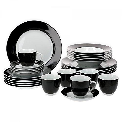 Van Well Kombiservice 30-tlg. für 6 Personen Serie Vario Porzellan – Farbe wählbar, Farbe:schwarz