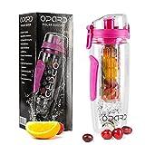 Opard Wasserflasche 1 Liter Fruit Infuser Sports Trinkflasche Water Bottle Tritan BPA-frei mit Kühlung Obst Flasche Kunststoff Schenken Kostenlose Obst Rezept (Pink)