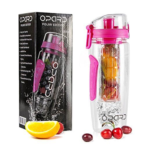 Image of Opard Wasserflasche 1 Liter Fruit Infuser Sports Trinkflasche Water Bottle Tritan BPA-frei mit Kühlung Obst Flasche Kunststoff Schenken Kostenlose Obst Rezept (Pink)