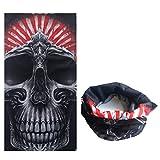 Dulcii Multi-fonction Serviette mouchoir de tête en motif de crâne Echarpe extensible sans couture pour moto vélo randonnée ski snowboard etc. 25cm x 25cm±1cm (Chef de Crâne)