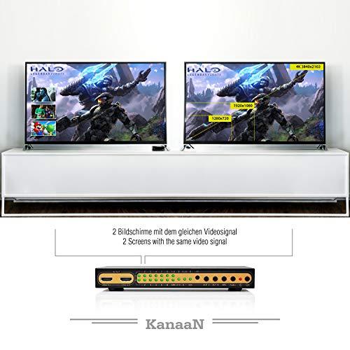 Leicke KanaaN 4K UltraHD HDMI 6×2 Matrix Switch | Fernbedienung | 5.1 Surround SPDIF optisch + Stereo 3.5mm Klinke Audioausgang | ARC und PIP | FullHD, UHD, 4K, 4K*2K kompatibel |HDMI 1.4 Standard - 5