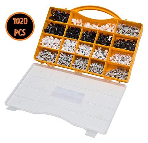 Kabelschellen Set für Rundkabel 1020tlg weiß schwarz grau Nagelschellen Kabelhalter Kabelbefestigung Haftclip mit Nagel diverse Größen im Sortimentskoffer nicht selbstklebend