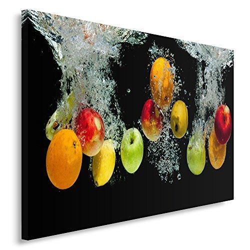 Feeby Frames, Tableau imprimé xxl, Tableau imprimé sur toile, Tableau deco, Canvas 70x100 cm, CULINAIRE, POMMES, EAU, COULEURS