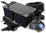 SunSun Filter Set für 60000l Teich mit 36W Teichklärer und 100W ECO Pumpe 25m Schlauch Skimmer SK30