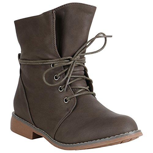 Stiefelparadies Damen Stiefeletten Schnürstiefeletten Leicht Boots Leder-Optik Schuhe Schnürboots 151507 Taupe Gefüttert Brito 38 Flandell