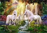 Cuadro sobre lienzo 70 x 50 cm: Waterfall Glade Unicorns de Jan Patrik Krasny / MGL Licensing - cuadro terminado, cuadro sobre bastidor, lámina terminada sobre lienzo auténtico, impresión en lienzo