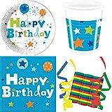 JT-Lizenzen Happy Birthday Boy Junge 55-teiliges Kindergeburtstag Party Deko Set Motto Fete Feier 16 Teller, 16 Becher, 20 Servietten, 3 Rollen Luftschlangen