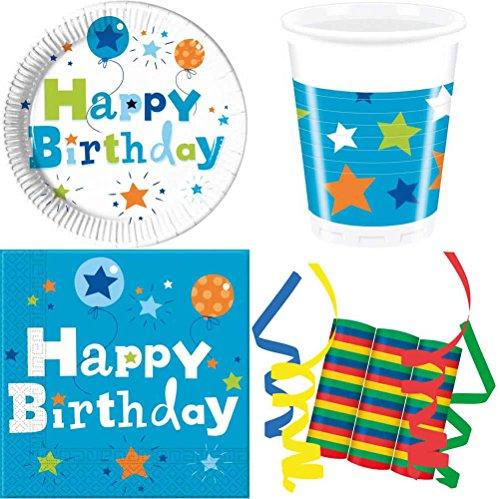 JT-Lizenzen Happy Birthday Boy Junge 39-teiliges Kinder Geburtstag Party Deko Set Basis Motto Fete Feier 8 Teller, 8 Becher, 20 Servietten, 3 Rollen Luftschlangen (Boy Motto-partys)