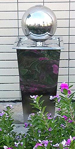 floristikvergleich.de Edelstahl Springbrunnen poliert mit Edelstahlkugel Kugel Brunnen für Garten mit LED Beleuchtung Wasserspiel