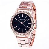 Souarts Damen Einfach Design Edelstahl Armbanduhr Quartzuhr Analog mit Batterie (rosa)