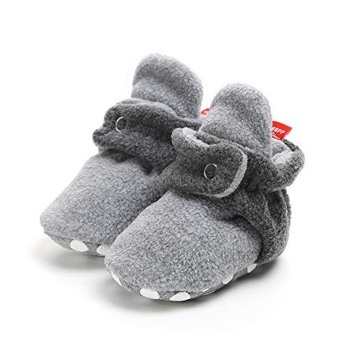 Baby Booties Rutschfeste Greifer Unisex Krabbel Hausschuhe SchüHchen Warme Winterschuhe Neugeborene Bootie Premium Soft Sole Anti-Rutsch Infant Kleinkind Prewalker Baby-Schuh(Dunkelgrau,12)