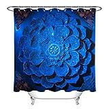 LB Duschvorhang Indien Mandala Relief Gemusterten Polyester Stoff Bad Vorhänge Wasserdicht Anti-Schimmel Bad Dekor Wohnaccessoires mit 12 Vorhang Haken 180x200cm