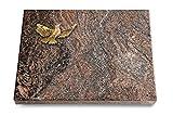MEMORUM Grabmale Grabtafel, Grabplatte, Grabstein, Grabkissen, Urnengrabstein, Liegegrabstein Modell Pure 40 x 30 x 3-4 cm Paradiso-Granit, Poliert inkl. Gravur (Bronze-Ornament Taube)