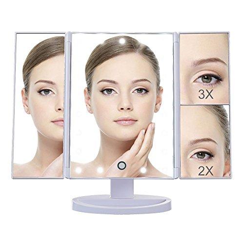 DELIPOP 21 LED Makeup Spiegel mit Beleuchtung 1X / 2X / 3X Vergrößerungs Eitelkeitsspiegel mit 180 Grad Rotation Dimmbare LED Touchscreen Make up Spiegel für Schminktisch (Weiß)