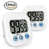 Gvoo Digital Eieruhren, 2 Stück Digital Küchen Timer Küchenwecker Kochen Timer Uhr Kitchen Timer Kurzzeitmesser mit Großen LCD-Display und Laut Alarm und Magnet