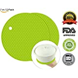 Silicone Pot Holder,BPA Free Mat,2 PC Round Mat, Hot Pads, Perfect For Modern Home Decor, Silicone Heat Resistant Coasters,Cup Insulation Mat, Tableware Insulation Pad Potholders Insulation Non-slip Mat,Non Slip, Flexible, Durable, Heat Resistant,Dining T