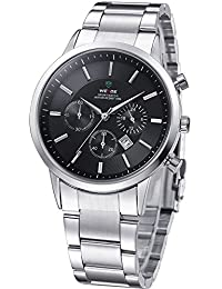 Weide Black Dial Japan Quartz Watch For Men Stainless Steel Band And Case Analog Men's Army Wrist Watch -33121C