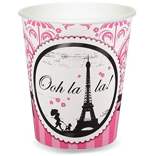 Paris Eiffel Tower Damask Party Supplies - 9 oz. Paper Cups (8) by BirthdayExpress (Party Paris Birthday Supplies)