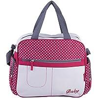 Happy Cherry - 5 pcs Maternal Bolso Bolsa Pañales Cambiadores para Carrito Carro Viaje Bolso Estampado Multifuncional con Gran Capacidad de Bebés Mamás - Rosa Azul Marrón - 36*15*32cm