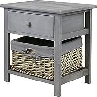 Hartleys Grey Bedside Cabinet with Wicker Storage Basket