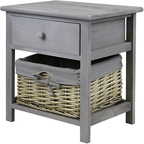 Hartleys Nachttisch in Grau, mit Weidenkorb zur Aufbewahrung