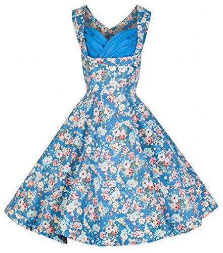 LOBTY Damen Wrapped Brust AbendKleider Dress 50er Jahre Vintage-Kleid Hepburn Rockabilly Knielang Kleid Retro Audrey Rock Blau 2