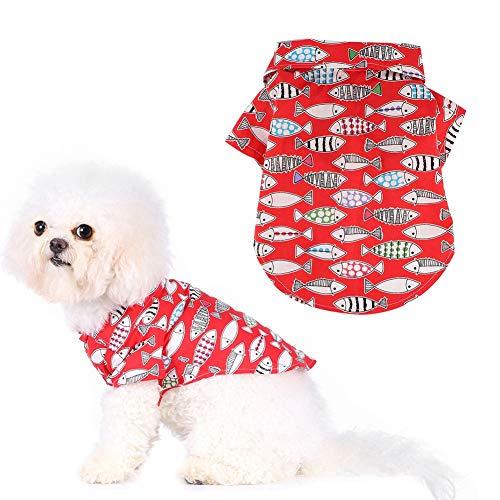 HEEPDD Hund Shirt Haustier Fisch Muster gedruckt Kleidung Welpe schönen Sommer Shirt für Hunde Katze Welpe(Rotes L)