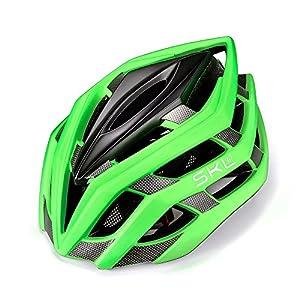 Casco de bicicleta, SKL Ultraligero Casco De Bicicleta Unisex Con La luces traseras LED de Seguridad ajustable de guía / Cascos de bicicleta de montaña hombres y mujeres, 56 - 61 cm (verde))