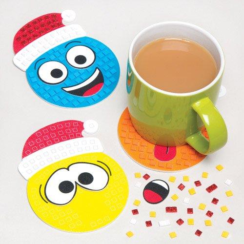 Weihnachtliche Bastelsets Lustige Gesichter für Mosaik-Untersetzer aus Moosgummi für Kinder zum Dekorieren zu Weihnachten - Kreatives, weihnachtliches Bastelset (6 Stück)