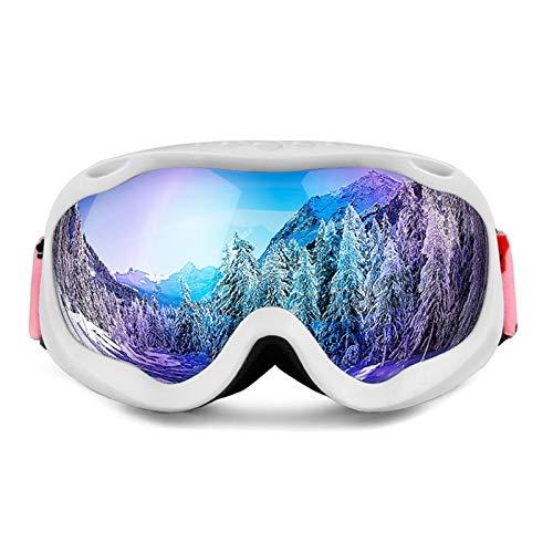 AmDxD TPU Snowboardbrille Zweilagige Anti-Fog PC Objektiv Skibrille Schneebrille Sportbrille für Skifahren Schneemobil Skaten, Weiß Blau