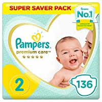 ‏‪Pampers Premium care Diapers, Size 2, Mini, 3-8 kg, Super Saver Pack, 136 Count‬‏