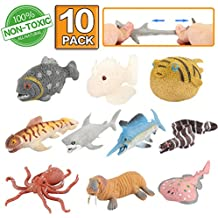 Animal marino, 10 paquetes de juguetes de goma de baño, material grado alimenticio – TPR de super elasticidad. Se puede cambiar el color de algunos tipos, fiesta de las figuras del mundo zoológico de juguete de baño flotante y blando, baño con tiburón, pulpo y pez simulado.