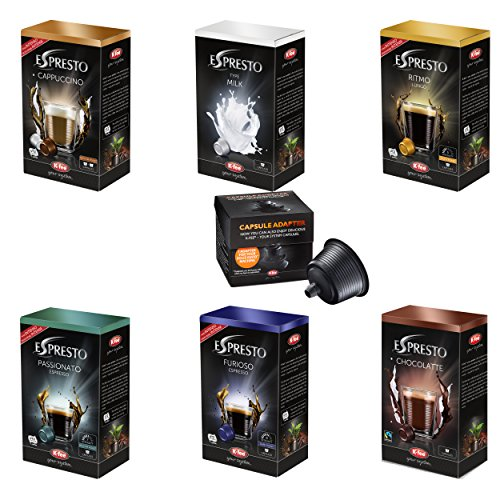 K-Fee Espresto All in One Set, alle Sorten, Kapseln, 6er Pack, Kapseln + Kapseladapter für Dolce Gusto Maschinen