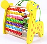 YIXIN Wooden Giraffe Puzzle Bead Maze Counting Frame Abacus Animal Shaped Mathematics Stand Rack Toy
