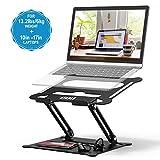 POVO Laptop Ständer Multi-Angle Höhenverstellbar mit Heat-Vent und Aufbewahrungsschale Notebook Ständer für Laptops 10-17 Zoll Schwarz