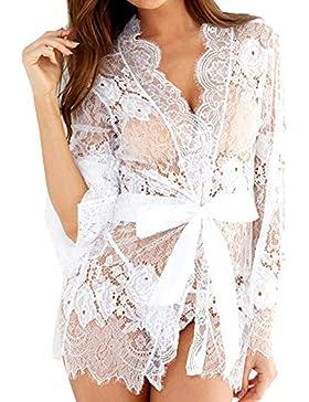 Cinnamou Lencería Encajes de Mujer, Kimono de CordónTúnica Ropa de Dormir Camisón con cinturón Transparente Erotic...