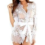 Sexy Nachtwäsche für Frauen, LEORTKS Spielraum Frauen-Wäsche-Spitze-Kimono-Robe Babydoll Lace Up Nachthemd mit Gürtel Female Übergröße Spitzenstrümpfe Strumpfhosen Unterwäsche Set Nachthemd