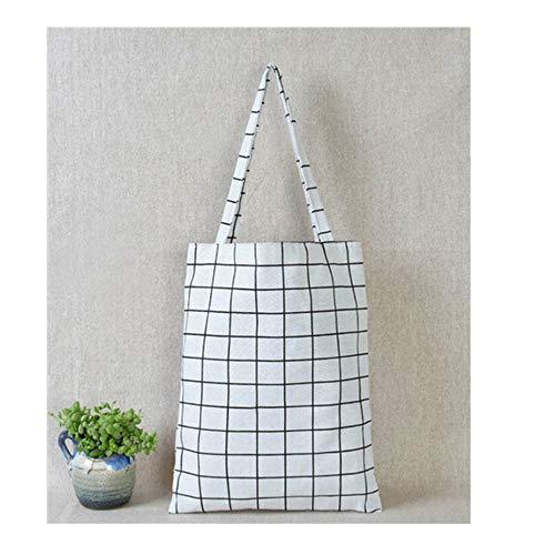 WSHH Shopping Bag Damen Casual Plaid Leinen Baumwolle Canvas Shopping Schultertasche ToteWeiß